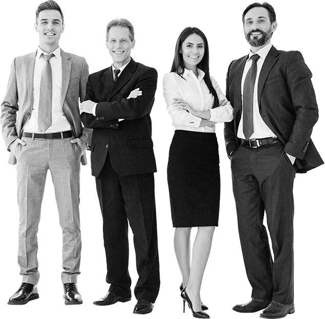 A vállalat különböző korú és nemű munkatársairól készült csoportkép.